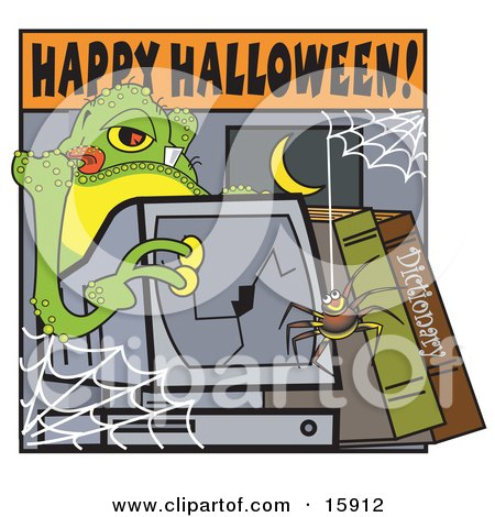 Spider Hanging Down In Front Of A Broken Computer Screen Where An Alien Stands Behind Clipart Illustration