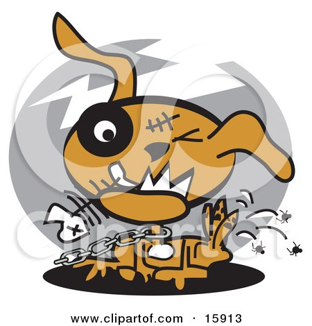 Zombie Dog Chewing On A Fishbone And Itching Fleas Off Of His Back Clipart Illustration by Andy Nortnik