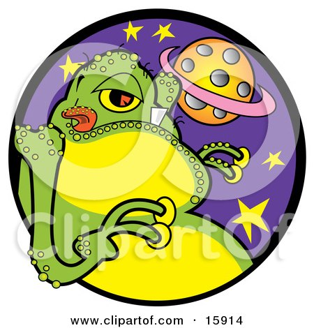 Green Alien With One Big Tooth, Licking His Lips, With A View Of A Planet Clipart Illustration by Andy Nortnik