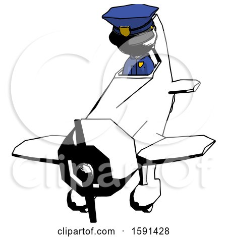 Ink Police Man in Geebee Stunt Plane Descending Front Angle View by Leo Blanchette