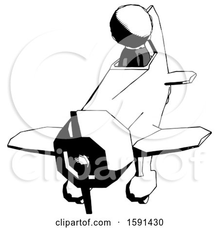 Ink Clergy Man in Geebee Stunt Plane Descending Front Angle View by Leo Blanchette