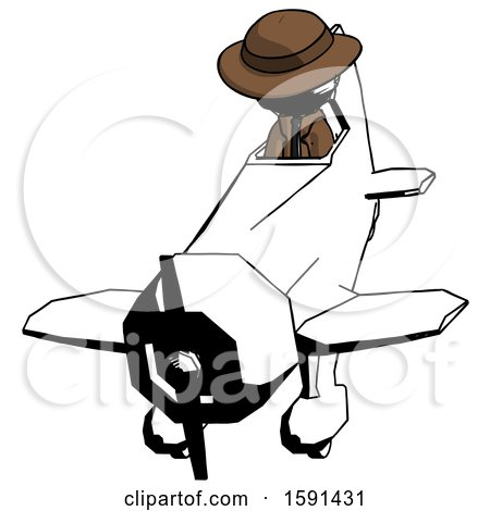 Ink Detective Man in Geebee Stunt Plane Descending Front Angle View by Leo Blanchette