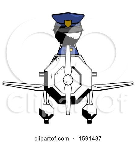Ink Police Man in Geebee Stunt Plane Front View by Leo Blanchette