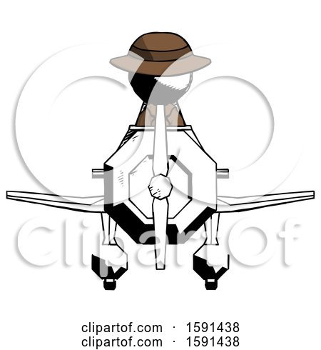 Ink Detective Man in Geebee Stunt Plane Front View by Leo Blanchette