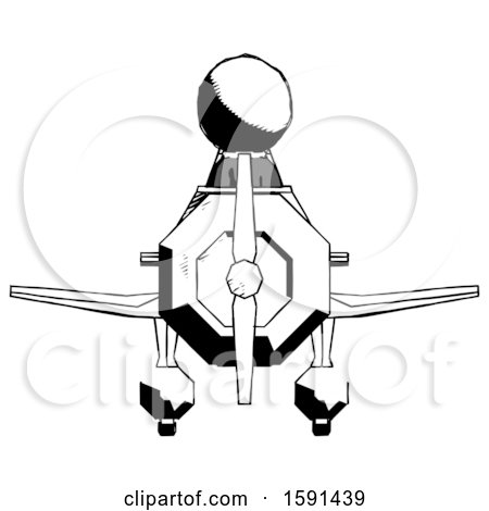 Ink Clergy Man in Geebee Stunt Plane Front View by Leo Blanchette