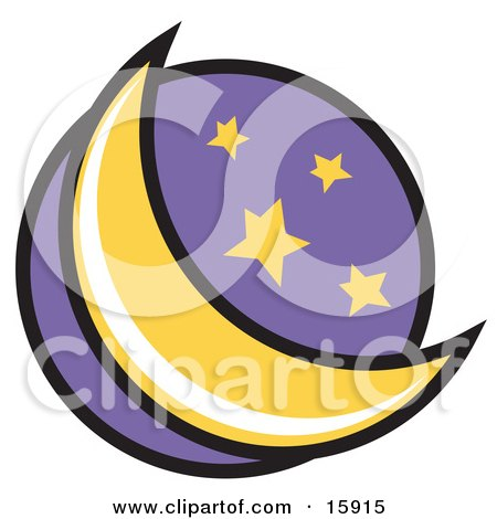 Crescent Moon And Stars In The Night Sky Clipart Illustration by Andy Nortnik