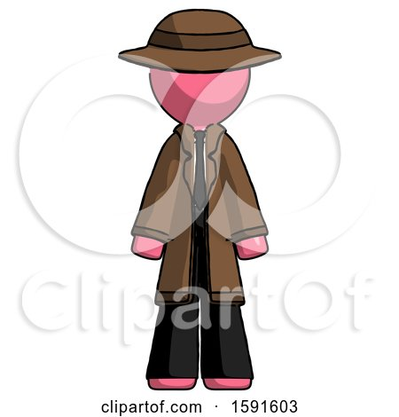 Pink Detective Man Standing Facing Forward by Leo Blanchette