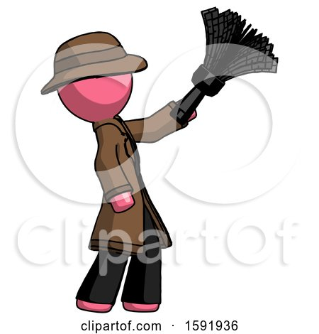 Pink Detective Man Dusting with Feather Duster Upwards by Leo Blanchette