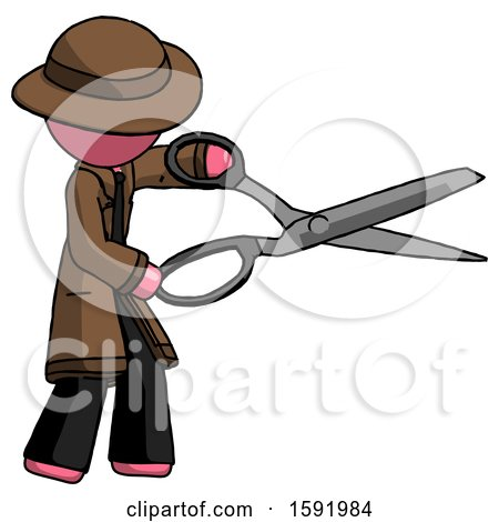 Pink Detective Man Holding Giant Scissors Cutting out Something by Leo Blanchette