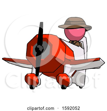 Pink Detective Man Flying in Geebee Stunt Plane Viewed from Below by Leo Blanchette