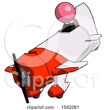 Pink Clergy Man in Geebee Stunt Plane Descending View by Leo Blanchette