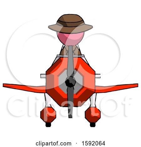 Pink Detective Man in Geebee Stunt Plane Front View by Leo Blanchette