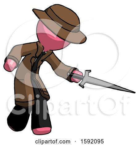 Pink Detective Man Sword Pose Stabbing or Jabbing by Leo Blanchette