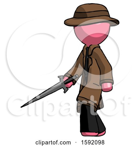 Pink Detective Man with Sword Walking Confidently by Leo Blanchette