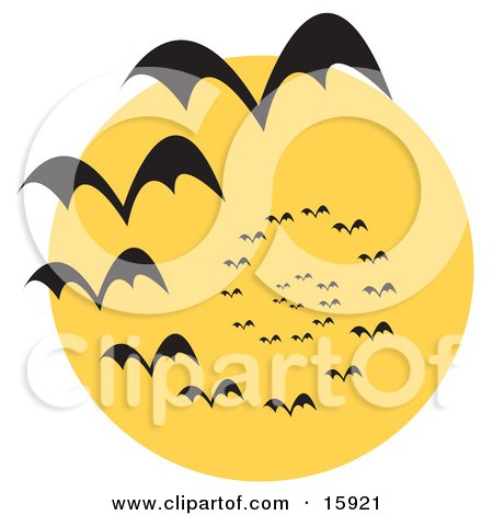 Circling Vortex Of Vampire Bats Silhouetted Against A Full Moon Clipart Illustration by Andy Nortnik