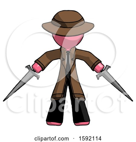 Pink Detective Man Two Sword Defense Pose by Leo Blanchette
