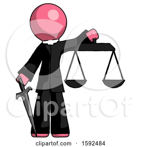 Pink Clergy Man Justice Concept with Scales and Sword, Justicia Derived by Leo Blanchette