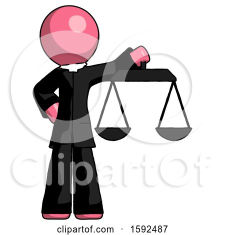 Pink Clergy Man Holding Scales of Justice by Leo Blanchette