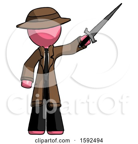 Pink Detective Man Holding Sword in the Air Victoriously by Leo Blanchette