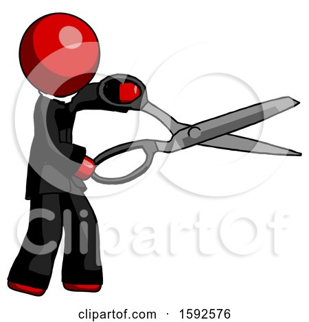 Red Clergy Man Holding Giant Scissors Cutting out Something by Leo Blanchette