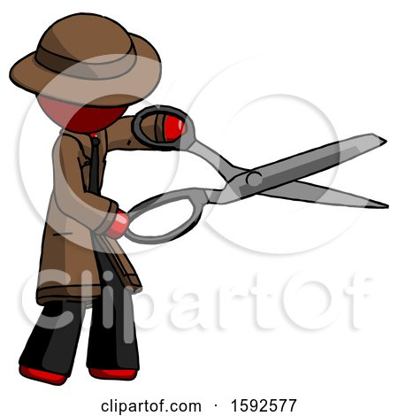 Red Detective Man Holding Giant Scissors Cutting out Something by Leo Blanchette