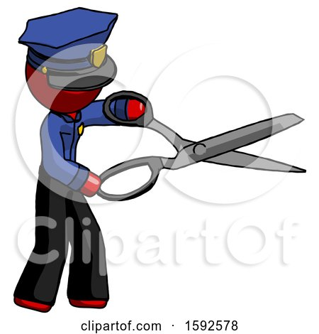 Red Police Man Holding Giant Scissors Cutting out Something by Leo Blanchette