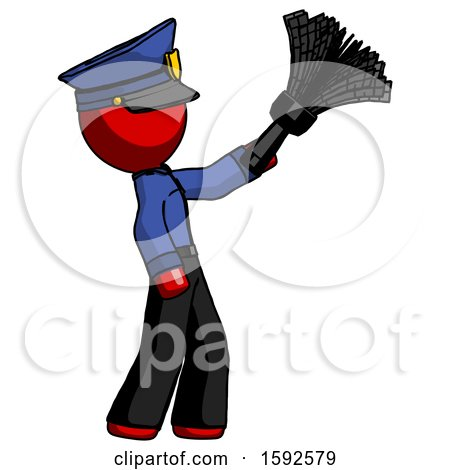 Red Police Man Dusting with Feather Duster Upwards by Leo Blanchette