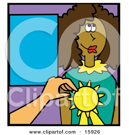 Teacher Giving An African American Girl An Award For An Educational Feat Clipart Illustration by Andy Nortnik