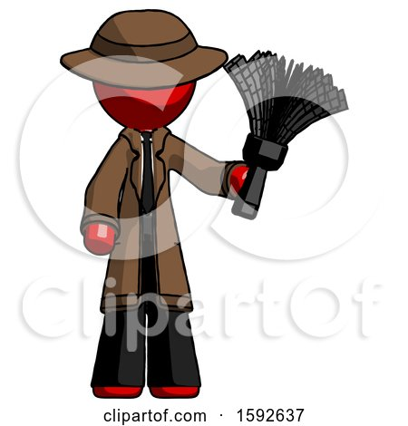 Red Detective Man Holding Feather Duster Facing Forward by Leo Blanchette
