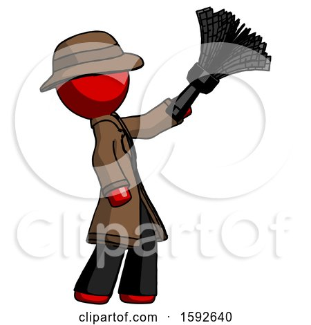 Red Detective Man Dusting with Feather Duster Upwards by Leo Blanchette