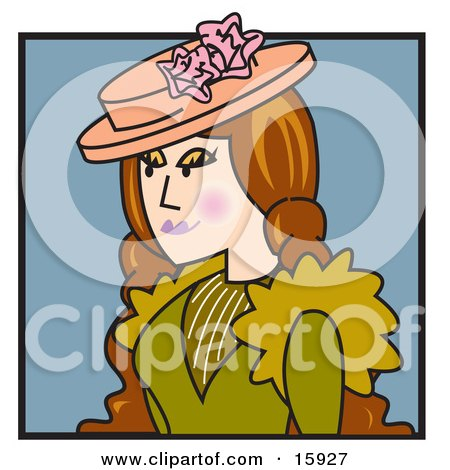 Long Haired Victorian Woman With Flushed Cheeks Wearing A Hat And A Green Dress Clipart Illustration