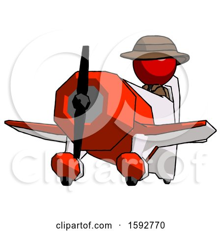 Red Detective Man Flying in Geebee Stunt Plane Viewed from Below by Leo Blanchette