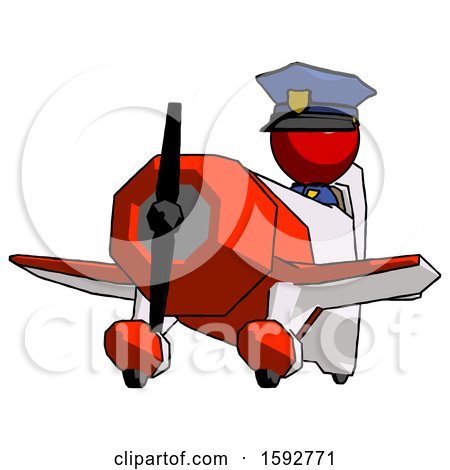 Red Police Man Flying in Geebee Stunt Plane Viewed from Below by Leo Blanchette