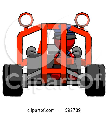 Red Police Man Riding Sports Buggy Front View by Leo Blanchette