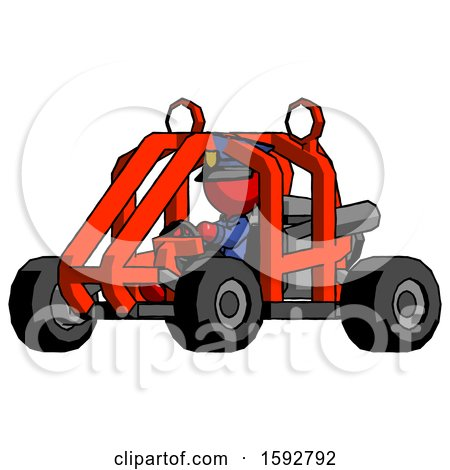 Red Police Man Riding Sports Buggy Side Angle View by Leo Blanchette