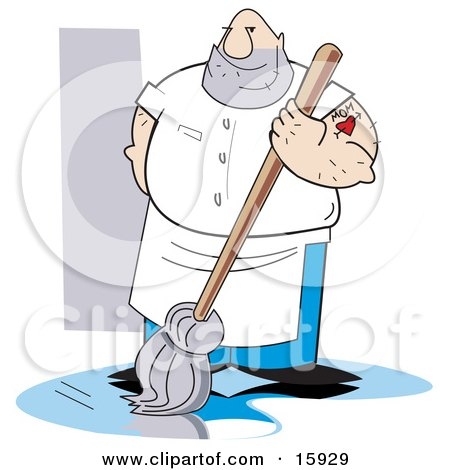 Big Hairy Man With A Mom Heart Tattoo On His Arm Mopping A Dirty Floor Clipart Illustration