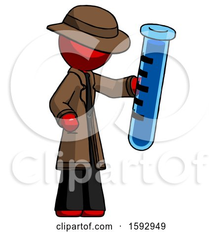Red Detective Man Holding Large Test Tube by Leo Blanchette