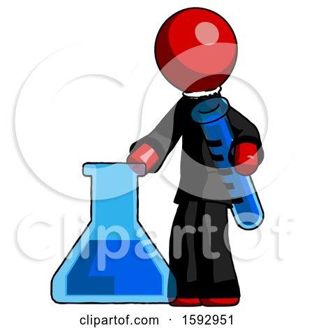Red Clergy Man Holding Test Tube Beside Beaker or Flask by Leo Blanchette