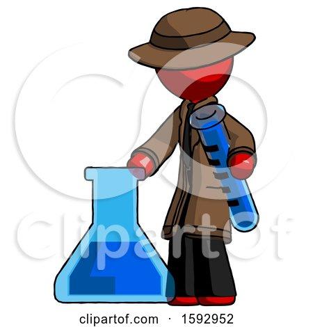 Red Detective Man Holding Test Tube Beside Beaker or Flask by Leo Blanchette