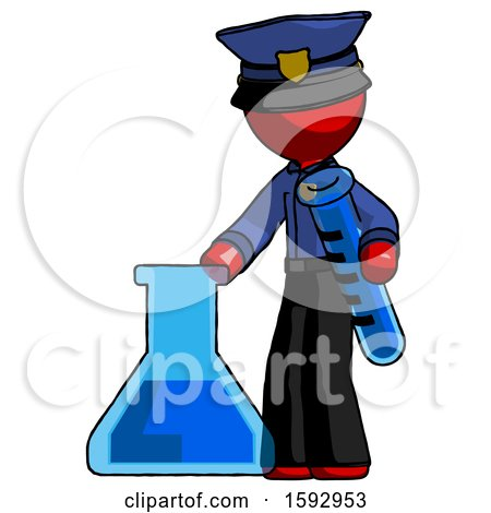 Red Police Man Holding Test Tube Beside Beaker or Flask by Leo Blanchette