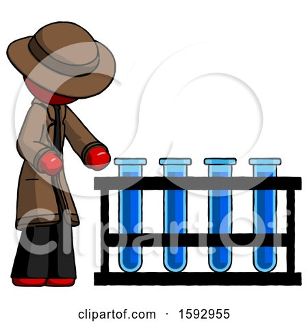 Red Detective Man Using Test Tubes or Vials on Rack by Leo Blanchette