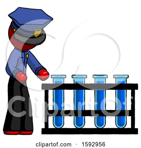 Red Police Man Using Test Tubes or Vials on Rack by Leo Blanchette