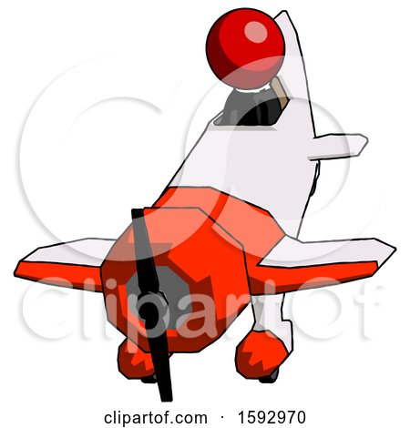 Red Clergy Man in Geebee Stunt Plane Descending Front Angle View by Leo Blanchette