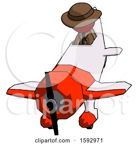 Red Detective Man in Geebee Stunt Plane Descending Front Angle View by Leo Blanchette