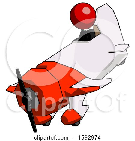 Red Clergy Man in Geebee Stunt Plane Descending View by Leo Blanchette
