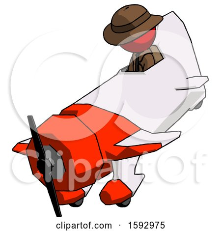 Red Detective Man in Geebee Stunt Plane Descending View by Leo Blanchette