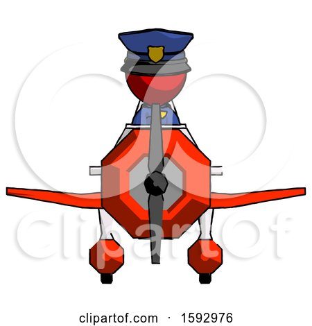 Red Police Man in Geebee Stunt Plane Front View by Leo Blanchette
