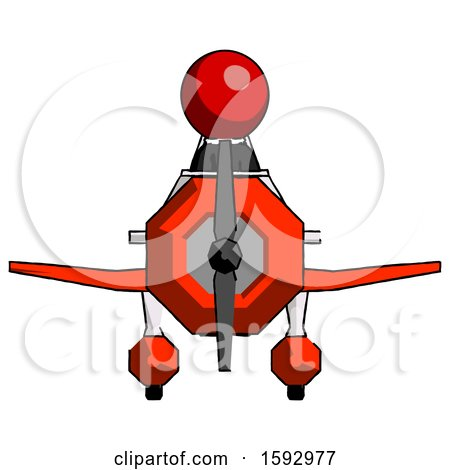 Red Clergy Man in Geebee Stunt Plane Front View by Leo Blanchette