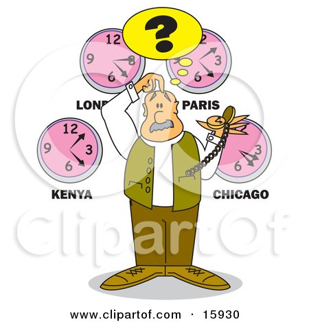 Confused Man Holding A Pocketwatch, Scratching His Head And Standing Under Clocks From Different Time Zones Clipart Illustration by Andy Nortnik