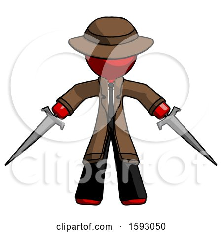 Red Detective Man Two Sword Defense Pose by Leo Blanchette